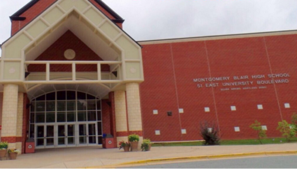 Blair High School (front of building with address listed)